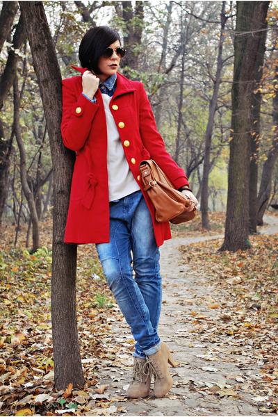 red Tally Weijl coat - tan Zara boots - blue Bershka jeans - beige H&M sweater