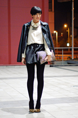 black luluscom jacket - nude luluscom shirt - black OASAP bag
