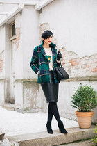 black Zara shoes - forest green Sheinside coat - white New Yorker sweater