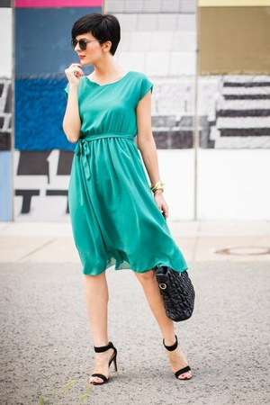 black romwe bag - teal abaday dress - black zeroUV sunglasses