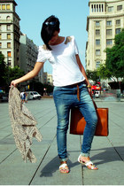 white Zara shirt - blue Bershka jeans - camel Zara scarf - tawny Parfois bag