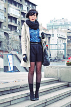 black Zara shoes - tan Zara coat - blue Gas shirt - black Mango bag