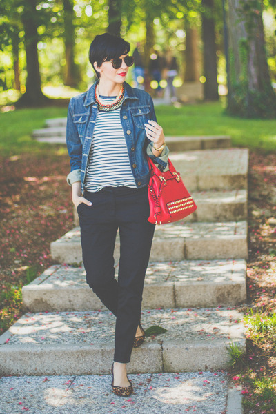 navy Dorothy Perkins jacket - red Lillys Kloset bag - white Black Five t-shirt
