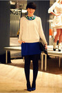 Blue-zara-dress-white-zara-sweater-black-tasnarija-bag-blue-zara-pumps