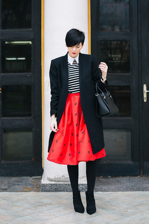 red Sheinside skirt - black Zara shoes - black Tamara Jarić coat