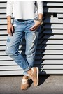 Blue-new-yorker-jeans-black-blackfive-sunglasses-camel-reebok-sneakers