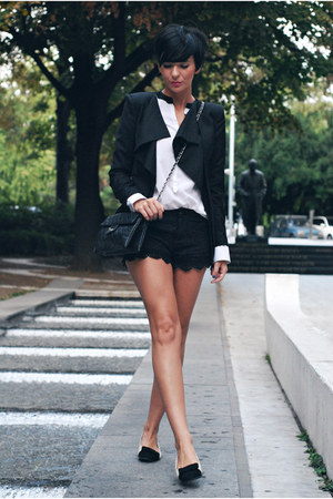 black Sheinside blazer - black Stradivarius bag - black Mont Affair shorts