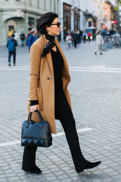 black Zara boots - burnt orange Zara coat - black CREAM of Scandinavia sweater
