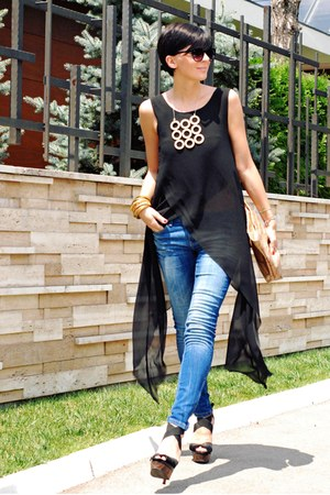 black Romwecom shirt - navy Zara jeans - black Miss Sixty sandals