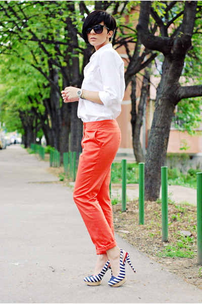 navy naughty monkey sandals - white Stradivarius shirt - coral handmade pants