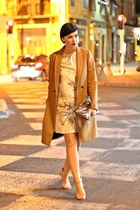 cream H&M dress - burnt orange Zara coat