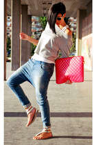 blue Bershka jeans - white Shana shirt - hot pink Bershka bag