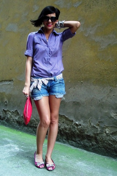 ruby red Mango bag - amethyst Zara shirt - blue Stradivarius shorts