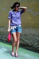 ruby red Mango bag - amethyst Zara shirt - blue Stradivarius shorts
