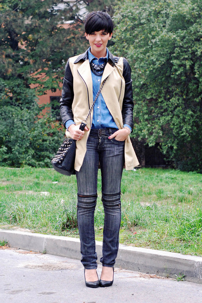 Choies coat - Zara shoes - Jagger jeans - Sheinside shirt - pull&bear bag