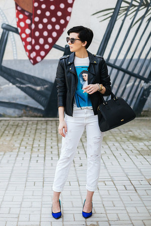 black Lulus jacket - navy Aldo shoes - white Zara shirt - black Aldo bag