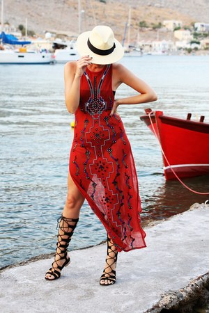 red Staying Summer dress - cream H & M hat - black Chies sandals
