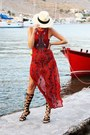 Red-staying-summer-dress-cream-h-m-hat-black-chies-sandals