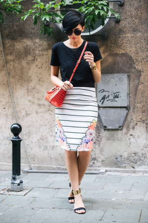 black Zara shirt - coral Zara bag - white shein skirt - black Black Five sandals