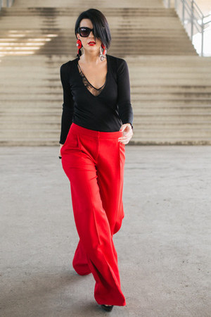 black H&M blouse - red H&M pants