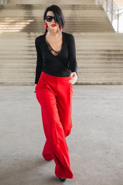 black H&M blouse - red H&M pants