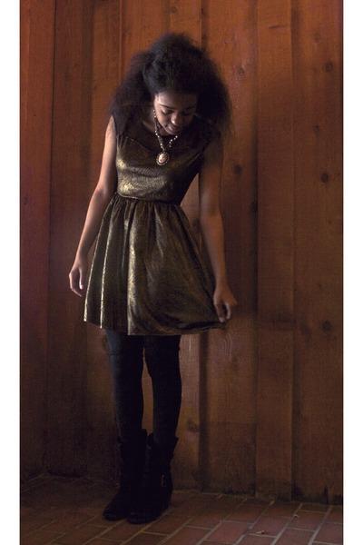 black Dolce Vita boots - black Marshalls dress