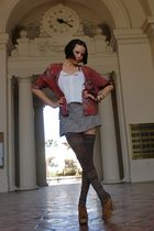 vintage blouse - vintage top - vintage skort skirt - Sock Dreams socks - Miu Miu