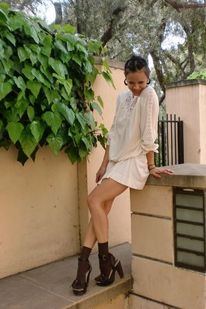 white vintage dress - brown HUE socks - brown Miu Miu shoes