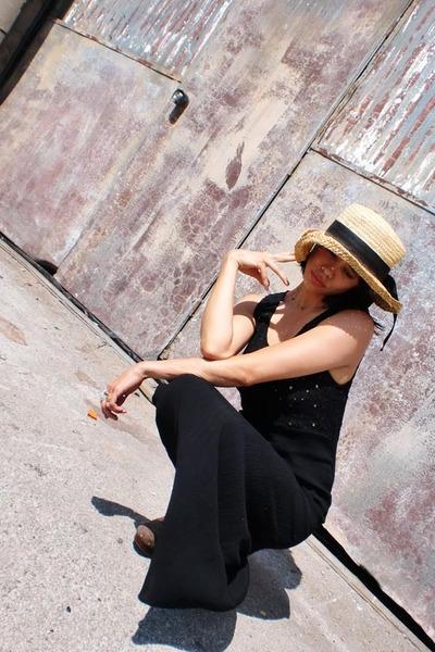 black vintage dress - brown michael kors clogs shoes - beige vintage hat