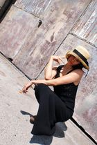 black vintage dress - brown michael kors clogs shoes - beige vintage hat