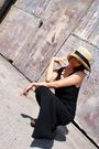 Black-vintage-dress-brown-michael-kors-clogs-shoes-beige-vintage-hat