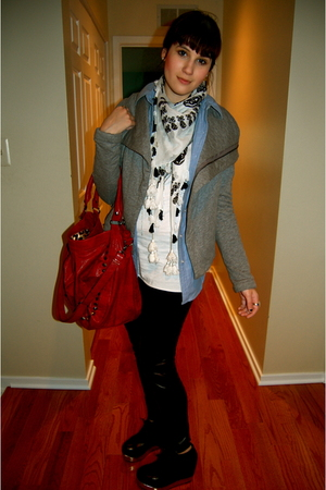 white scarf - blue shirt - silver jacket - white top - red purse - black shoes