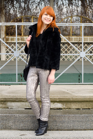 silver sequin Zara pants - black H&M boots - black faux fur New Yorker jacket