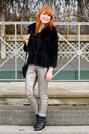 silver sequin Zara pants - black H&M boots - black faux fur New Yorker jacket