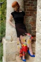 suede SMH pumps - leather vintage bag - cotton H&M t-shirt - Sugarlips skirt