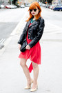 Red-lace-asos-dress-black-faux-leather-h-m-jacket-black-h-m-bag