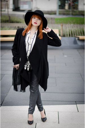 Fedora hat - Flying Monkey jeans - Public Beware blazer - fringed H&M bag