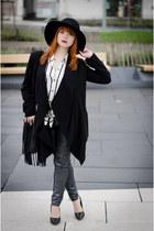 Fedora hat - Flying Monkey jeans - Public Beware blazer - fringed H&M bag