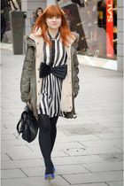 white striped Primark dress - army green parka asos jacket - black bow H&M belt