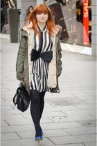 white striped Primark dress - army green parka asos jacket - black bow H&M belt