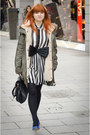 White-striped-primark-dress-army-green-parka-asos-jacket-black-bow-h-m-belt