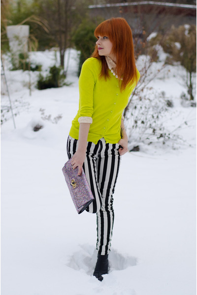 yellow neon Forever21 cardigan - black pointed wedge H&M boots