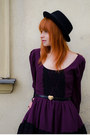 Purple-cutout-back-rare-dress-black-menswear-bailey-of-hollywood-hat