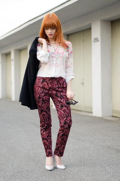PERSUNMALL shirt - Zara blazer - christian dior sunglasses - silver H&M heels