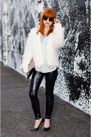 sequin blank nyc jeans - fluffy nowIStyle jacket - geo Forever 21 necklace