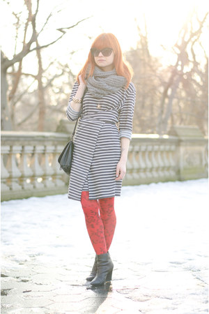 heather gray striped nowIStyle dress - red floral H&M tights
