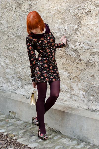 black floral Forever21 heels - black nowIStyle dress