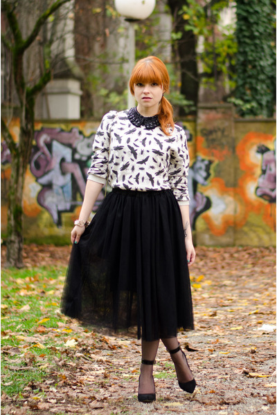 midi ballerina skirt - insect print Topman sweater - ankle strap Buffalo heels