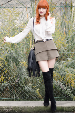fringed H&M bag - over-the-knee boots - dark khaki nowIStyle shorts