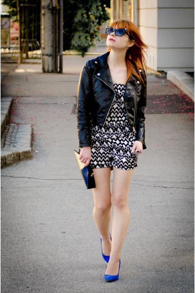 faux leather H&M jacket - claudine london bag - cat-eye Ebay sunglasses